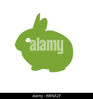 Bunny rabbit green icon. Abstract outline. Hand drawn minimalism style. Vector logo design template - Stock Photo