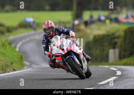 Dundrod Circuit, Belfast, Northern Ireland, UK. 10th August, 2019.   Ulster Grand Prix road races, race day; Davy Todd takes second place in the Superstock race - Editorial Use Only. Credit: Action Plus Sports Images/Alamy Live News Credit: Action Plus Sports Images/Alamy Live News - Stock Photo