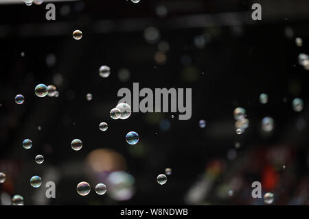 London, UK. 10th Aug, 2019. Bubbles at the West Ham United v Manchester English Premier League game, at The London Stadium, London, on August 10, 2019. **Editorial use only, license required for commercial use. No use in betting, games or a single club/league/player publications** Credit: Paul Marriott/Alamy Live News - Stock Photo