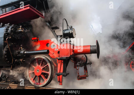 Old steam locomotives in a roundhouse in Germany - Stock Photo