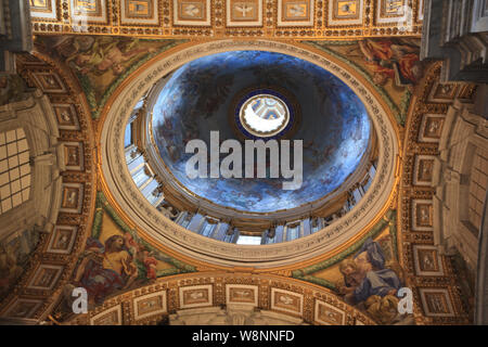 Ornate Painted Ceilings, Rome, Italy - Stock Photo