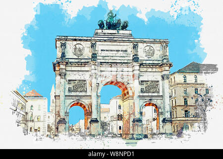 A watercolor sketch or illustration. Victory Gate triumphal arch Siegestor in Munich. Germany. - Stock Photo