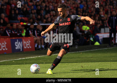 London, UK. 10th Aug, 2019. Jordan Cousins of Stoke City in action. EFL Skybet championship match, Charlton Athletic v Stoke City at the Valley in London on Saturday 10th August 2019. this image may only be used for Editorial purposes. Editorial use only, license required for commercial use. No use in betting, games or a single club/league/player publications. pic by Steffan Bowen/Andrew Orchard sports photography/Alamy Live news Credit: Andrew Orchard sports photography/Alamy Live News - Stock Photo