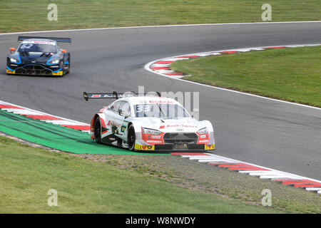 KENT, UNITED KINGDOM. 10th Aug, 2019. René Rast (Audi Sport Team Rosberg) in front and Ferdinand von Habsburg (R-MotoSport) rear in DTM Race 1 during DTM (German Touring Cars) and W Series at Brands Hatch GP Circuit on Saturday, August 10, 2019 in KENT, ENGLAND. Credit: Taka G Wu/Alamy Live News - Stock Photo
