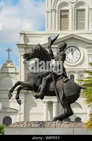 Statue of General Andrew Jackson in from of the St. Louis Cathedral in New Orleans, Louisiana - Stock Photo