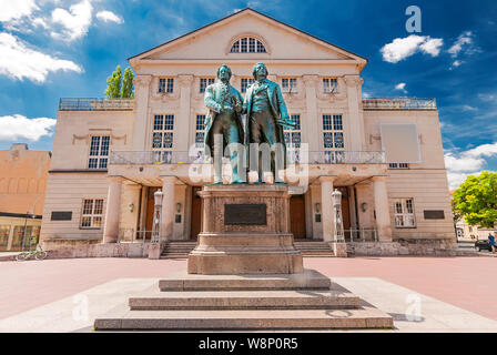 German National Theatre with Goethe and Schiller Monument at Weimar, Thuringia, Germany - Stock Photo