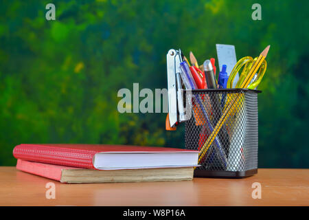 Office stationery on wooden table - Stock Photo