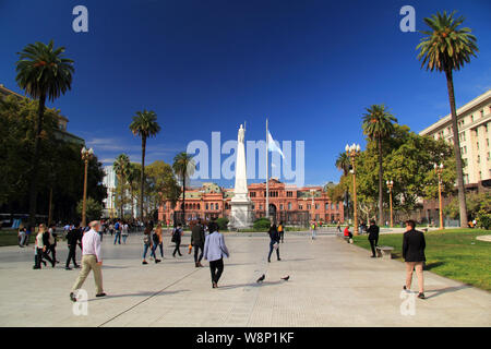Located on the Plaza de Mayo, the presidential palace, known as the Casa Rosada, is perhaps the most well known icon representing Buenos Aires - Stock Photo