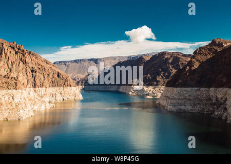 Awesome view on colorado river behind the hoover dam nevada USA - Stock Photo