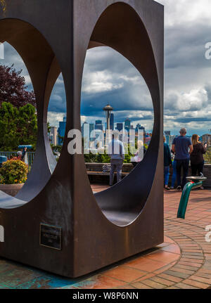 A view of Seattle through the sculpture in Kerry Park - Stock Photo