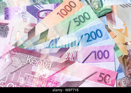 New 2019 Kenyan Shilling bank notes in various denominations - Stock Photo