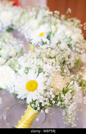 White Daisy Hand Tied Bouquets - Stock Photo