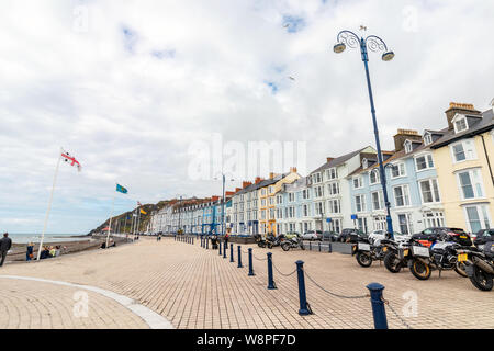 Aberystwyth, Wales / UK - July 20th 2019 - Aberystwyth is a seaside town on the west coast of Wales - Stock Photo