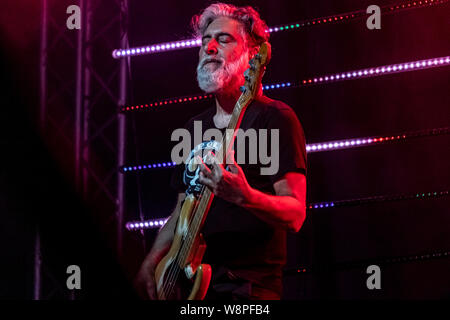 "Italian singer and songwriter Luca Carboni, performs live on stage at Cantina dei Colli Ripani in Ripatransone during his ""Sputnik Tour 2019"". - Stock Photo"