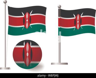Kenya flag on pole and ball. Metal flagpole. National flag of Kenya vector illustration - Stock Photo