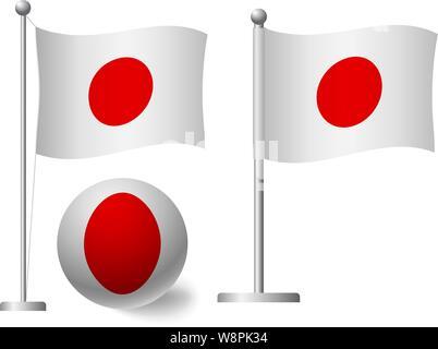 Japan flag on pole and ball. Metal flagpole. National flag of Japan vector illustration - Stock Photo