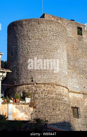 A round tower of Castle in Ronciglione, Viterbo, Lazio, Italy - Stock Photo