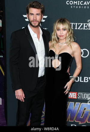Los Angeles, United States. 22nd Apr, 2019. (FILE) Miley Cyrus and Liam Hemsworth Split. LOS ANGELES, CALIFORNIA, USA - APRIL 22: Actor Liam Hemsworth and wife/singer Miley Cyrus arrive at the World Premiere Of Walt Disney Studios Motion Pictures and Marvel Studios' 'Avengers: Endgame' held at the Los Angeles Convention Center on April 22, 2019 in Los Angeles, California, United States. (Photo by Xavier Collin/Image Press Agency) Credit: Image Press Agency/Alamy Live News - Stock Photo