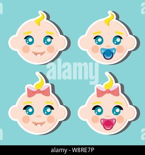 Children faces icons boy and girl with dummy. - Stock Photo