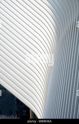 An abstract pattern of a portion of the Oculus, the World Trade Center Transportation Hub in Lower Manhattan - Stock Photo