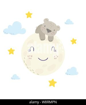 Cute bear is sleeping on the moon cartoon flat vector illustration for kids. Perfect for t-shirt print, nursery textile, kids wear fashion design, baby shower invitation card. - Stock Photo
