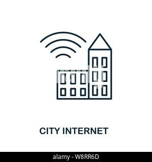 City Internet icon outline style. Simple glyph from icons collection. Line City Internet icon for web design and software. - Stock Photo