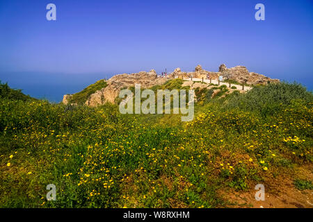 The remains of the old fort of Apolonia, AKA Arsuf, Apollonia is an archaeological park containing the ruins of the Crusade city, fort and port on the - Stock Photo