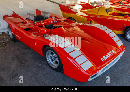 1971 Fiat Abarth 3000 V8 Prototype Vergaser hillclimb sports racer in the paddock at the 2019 Goodwood Festival of Speed, Sussex, UK. - Stock Photo