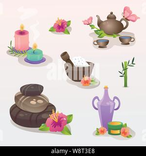 Spa Icon Set. Spa set with spa stones and salt and tea and aroma candles and aroma oils and natural masks. - Stock Photo