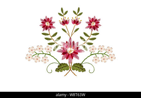 Embroidered satin stitch delicate bouquet with pink- red cornflowers and white flowers on curved branches with green leaves on a white background - Stock Photo