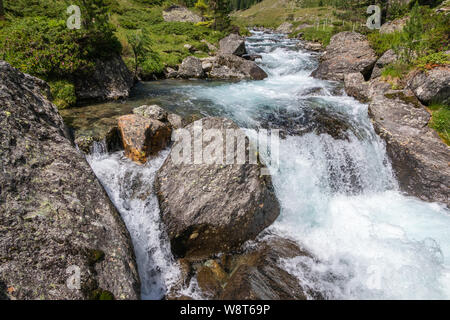 Debantbach torrent in Debanttal. The Schobergruppe massif. Hohe Tauern Nationalpark. - Stock Photo