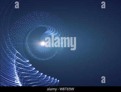 Abstract Blue Background With Curved Lines And Glowing Light