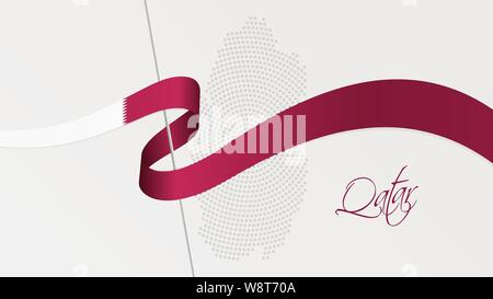 Vector illustration of abstract radial dotted halftone map of Qatar and wavy ribbon with Qatari national flag colors for your design - Stock Photo