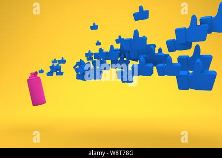 Pink air horn blows out blue icons with thumb up on a yellow background Concept photo like. 3D render. - Stock Photo