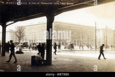 [ 1930s Japan - Marunouchi Building, Tokyo ] —   Marunouchi Building (Maru Biru) in Marunouchi (丸の内) in Tokyo, as seen from Tokyo Station. The building was designed by Kotaro Sakurai and opened in 1923, just before the earthquake devastated the city. It was Japan's very first office building, and with 371 offices the largest office building in Asia. It was replaced by a 37-story building in 2002. The location is now among the most expensive real estate in Japan.  20th century vintage postcard. - Stock Photo