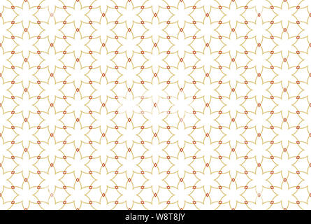 Seamless pattern. White background and six rayed stars with diamonds in brown color tones. - Stock Photo