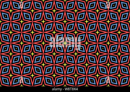 Seamless pattern. Black background and shaped stars and diamonds in yellow, red and blue colors. - Stock Photo