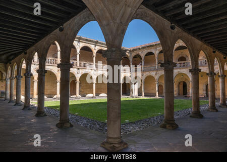 Patio at Universidad Sancti Spiritus (University of the Holy Spirit), 16th century, Plateresque style, in Oñati, Basque Country, Spain - Stock Photo