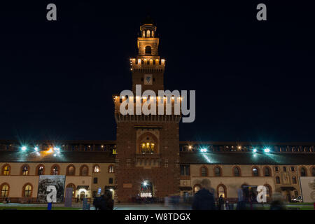 long exposure night Sforza Castle in Milan, Italy - Stock Photo