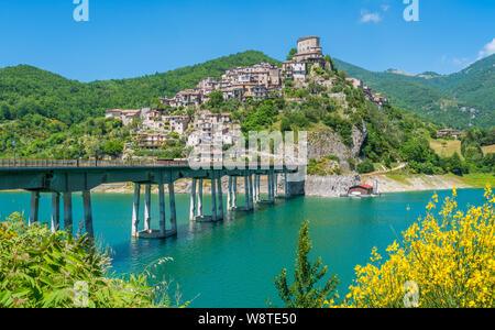 Panoramic sight in Castel di Tora with Lake Turano, beautiful village in the Province of Rieti. Lazio, Italy. - Stock Photo