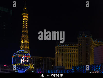 LAS VEGAS, NV/USA - FEBRUARY 14, 2016: Paris Las Vegas Hotel at night. - Stock Photo