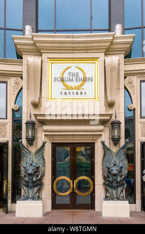 LAS VEGAS, NV/USA - FEBRUARY 14, 2016: The Forum Shops entrance and logo at Caesars Palace. The Forum Shops at Caesars is ashopping mall connected to - Stock Photo
