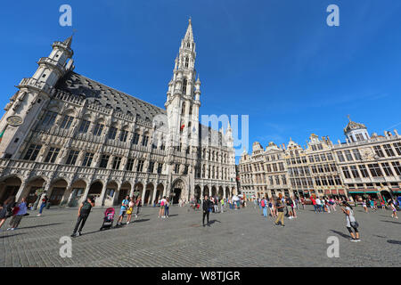 The Town Hall and buildings of the Grand Place or Grote Markt, Brussels, Belgium - Stock Photo