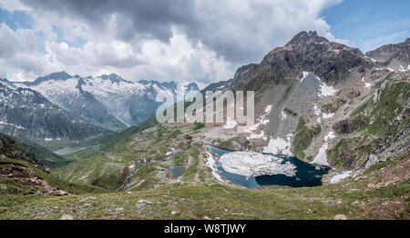 Schwartz See alpine lake located near the Berliner Hut in the Zillertal Alps and the resort town of Mayrhofen in the mountains of the Austrian Tirol - Stock Photo