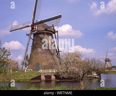 The Old Windmills at Kinderdijk, Kinderdijk, Zuid-Holland, Kingdom of the Netherlands - Stock Photo