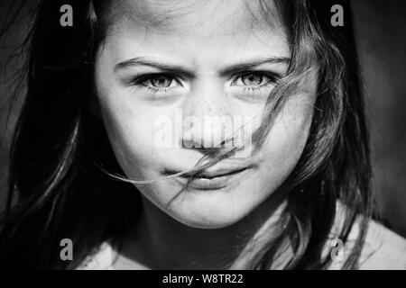 Portrait of a young girl (my daughter Seren) - Stock Photo