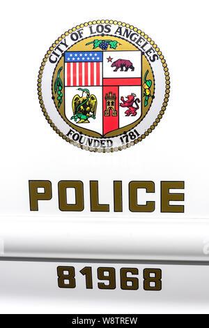 Los Angeles police car logo, Marina del Rey, Los Angeles, California, United States of America - Stock Photo