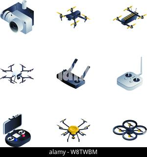 Drone toy icon set. Isometric set of 9 drone toy vector icons for web design isolated on white background - Stock Photo
