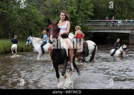 Romani Gypsy travellers meet up for an annual get together in the New Forest. Travelling Community Cart racers at Brockenhurst, Hampshire, England, UK - Stock Photo