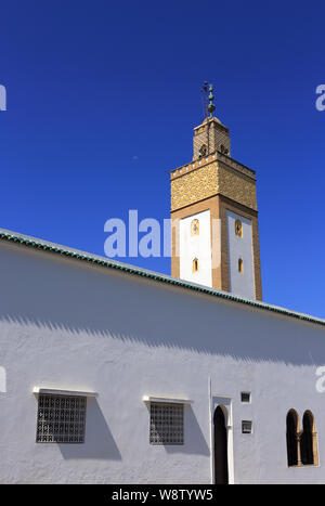 Rabat, Morocco. The 18th Century, Ahl Fas Mosque minarete. Also known as the Royal Palace Mosque. Blue sky, space for text.